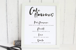 Foiled Wedding Cake Flavours Sign by Confetti Sweethearts