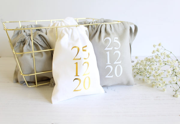 Cotton Favour Bags personalised with Wedding/Engagement date