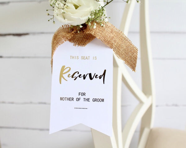 Foiled Reserved for Tag personalised with names or roles from the 'Modern Day' Collection