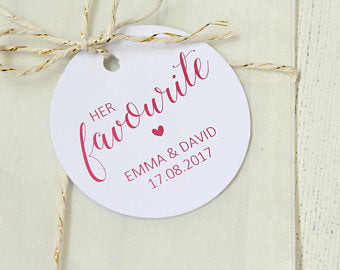 Personalised 'Her Favourite' Favour Tags