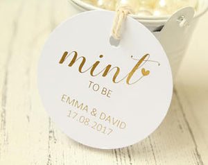 Personalised 'Mint to Be' Favour Tags