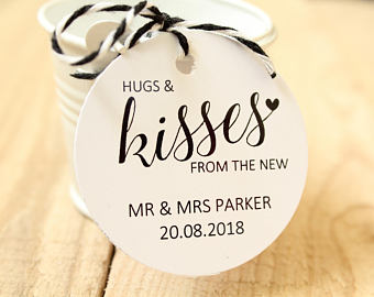 Personalised 'Hugs & Kisses from the new ' Favour Tags