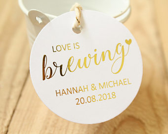 Personalised 'Love is Brewing' Favour Tags