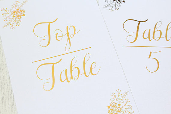 table numbers wedding foiled
