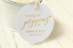 Personalised 'Thanks for popping by' Favour Tags