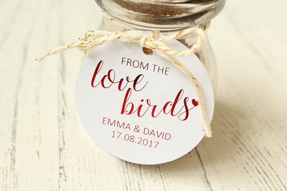 Personalised 'From the Love Birds' Favour Tags