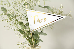 table number flags for wedding in gold foil