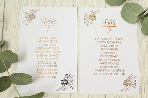 Floral Design Table Plan Cards & Headers