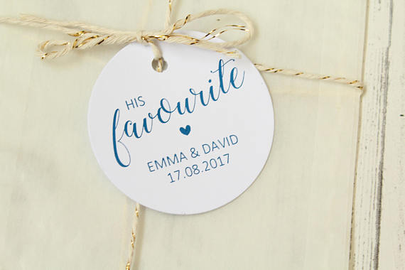 Personalised 'His Favourite' Favour Tags