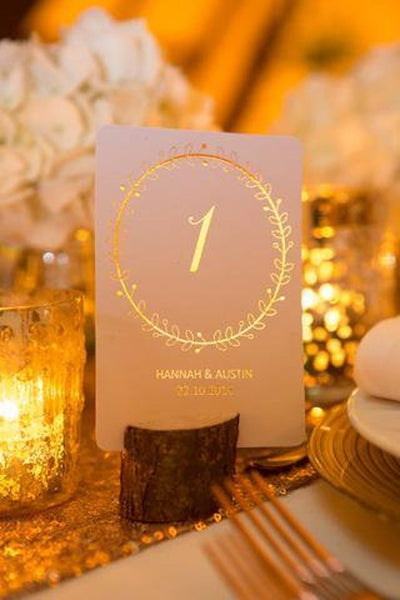 wreath table numbers foiled autumn winter wedding