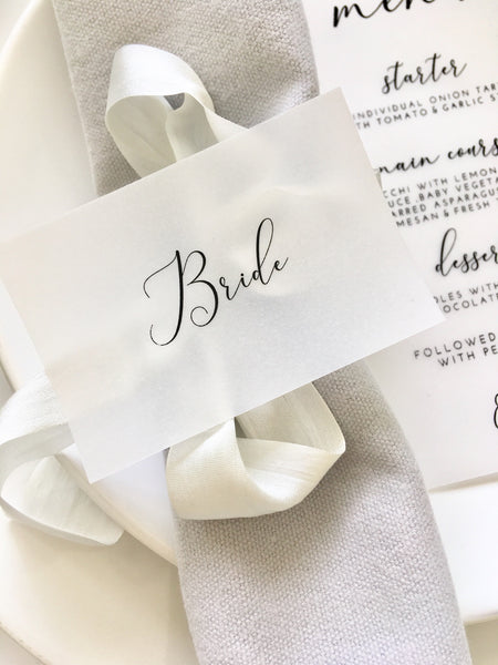 Foiled Vellum Wedding Flat Place Cards personalised with guests names from the Elegance Collection