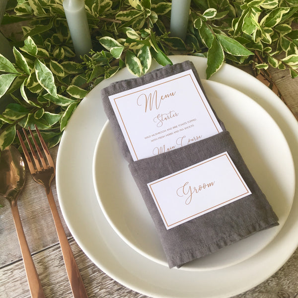 Foiled Wedding Flat Place Cards personalised with guests names from the Romance Collection
