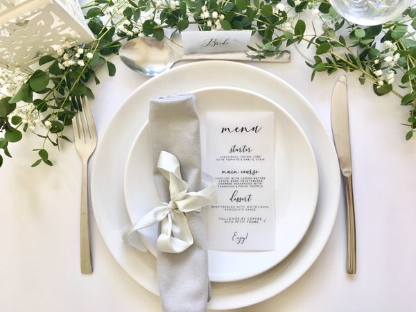 Foiled Vellum Wedding Menu 'Elegance Collection'