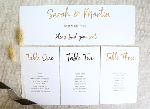 Foiled Table Plan Cards & Headers in 'Timeless Love' Design