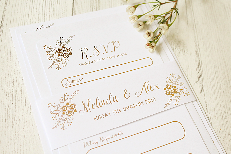 Floral Design Wedding Invitation/RSVP/Details Card/Belly Band