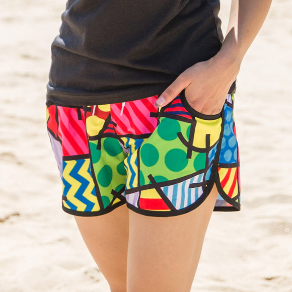 2017 Ladies' Quick-Drying Beach Shorts with drawstring - Geometric Patchwork Prints