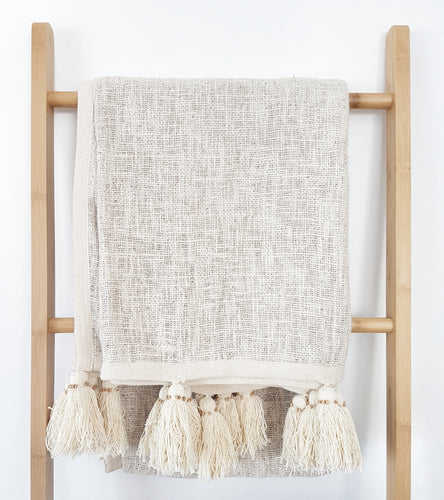 Tulum Tassel Throw - Natural throw & natural tassels
