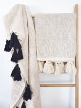Tulum Tassel Throw - Natural Throw with Black tassels