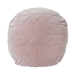 Velvet Quilted Round Cushion - Rose Pink