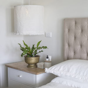 Fringed Linen Light Shade - White