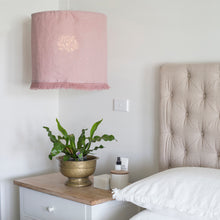 Fringed Linen Light shade - Rose Pink
