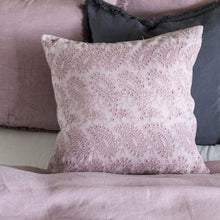 Embroidered Lace & Velvet Cushion - Rose Pink
