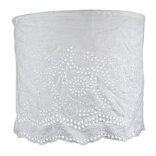 Linen Lampshade with Embroidery - White