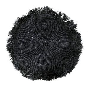 Black Fringe Floor Cushion Cover