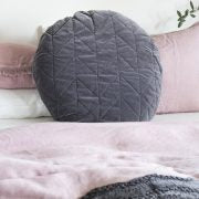 Velvet Quilted Round Cushion - Charcoal
