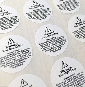 Wax Melt Safety Stickers