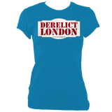 sapphire blue women's fitted t-shirt with Derelict London logo