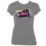 grey women's fitted t-shirt with graffiti rock print