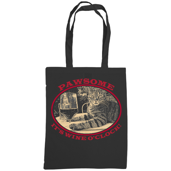 "black tote bag with cat and slogan ""Pawsome It's wine o'clock"""
