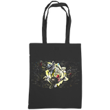 black tote bag with distressed rose print