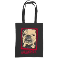 black tote bag with bulldog bollocks print
