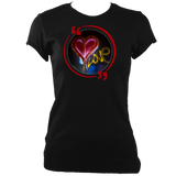 Black heather woman's fitted t-shirt with graffiti love heart motif