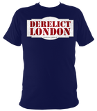 navy blue unisex t-shirt with Derelict London logo