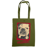 military green tote bag with bulldog bollocks print