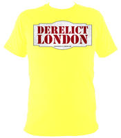yellow unisex t-shirt with Derelict London logo