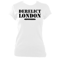 white women's fitted t-shirt with Derelict London logo