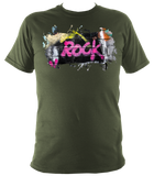 military green unisex t-shirt with graffiti rock motif