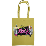 olive tote bag with graffiti rock print