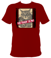 red unisex t-shirt with slogan you talkin' to me?