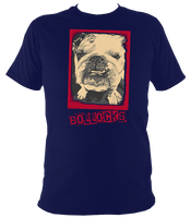 navy blue unisex t-shirt with bulldog bollocks print