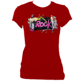 red women's fitted t-shirt with graffiti rock print
