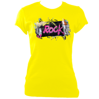 yelllow women's fitted t-shirt with graffiti rock print