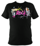 black unisex t-shirt with graffiti rock motif