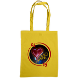 Yellow tote bag with graffiti heart art work