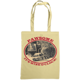 "natural tote bag with cat and slogan ""Pawsome It's wine o'clock"""