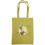 gold tote bag with distressed rose print